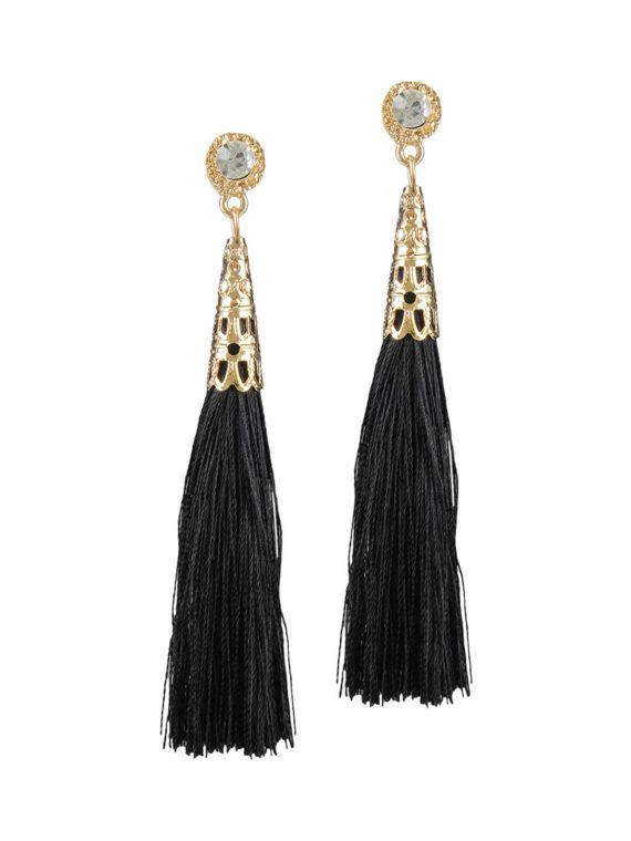 Black drop earrings by earrings