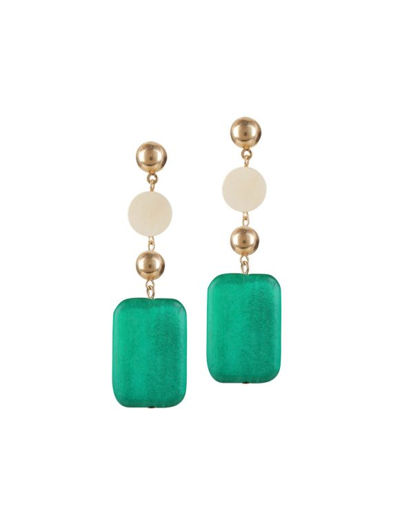 Green designer drop earrings