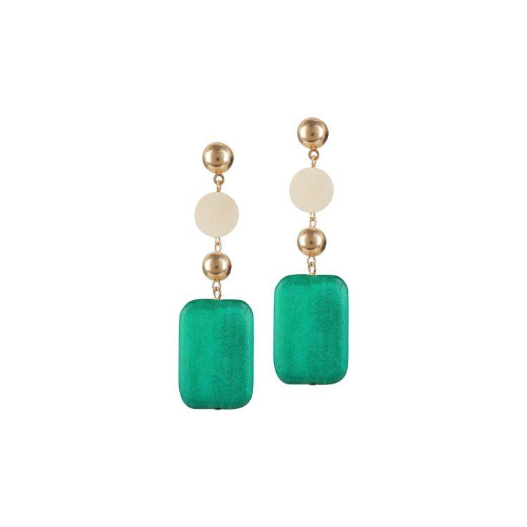 Green designer drop earrings