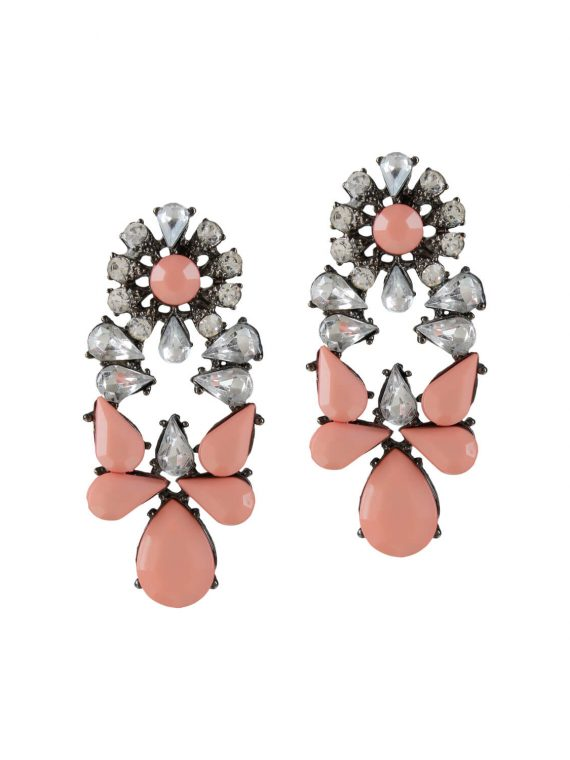 Peach stone studded earrings by femnmas