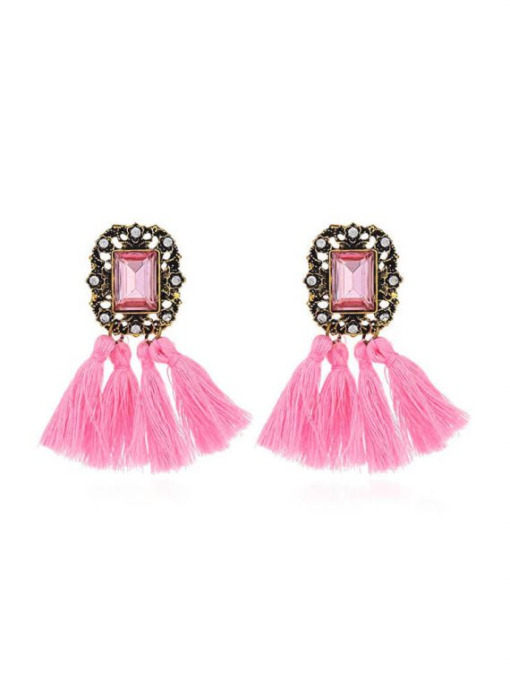 Pink Stone Tassel Statement Earrings By Femnmas