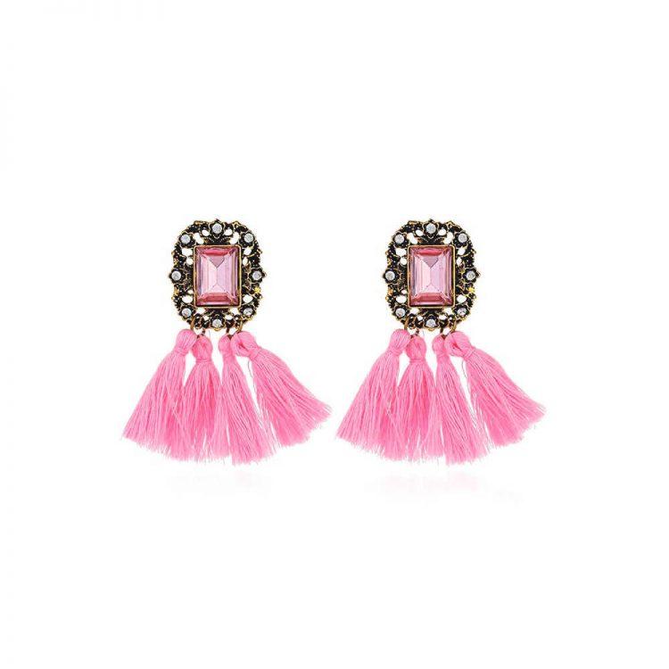 Pink Stone Tassel Statement Earrings By Femnmas