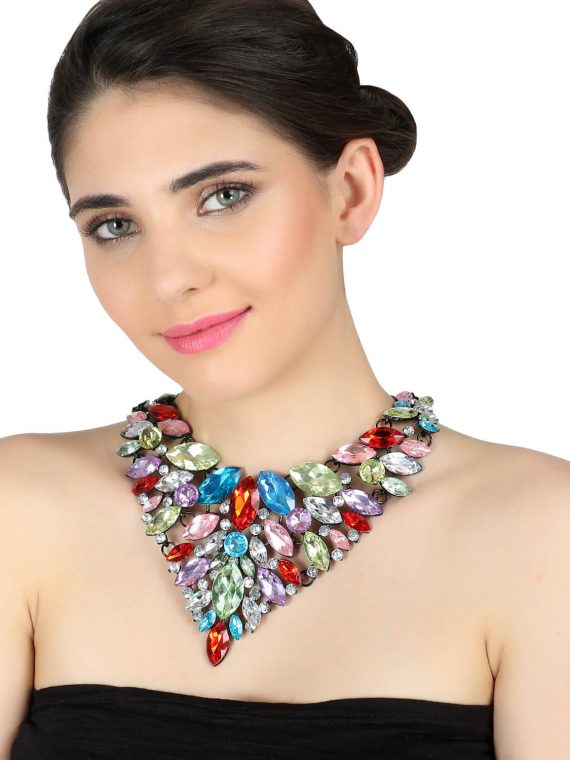 Multicolor Stone Studded Statement Necklace