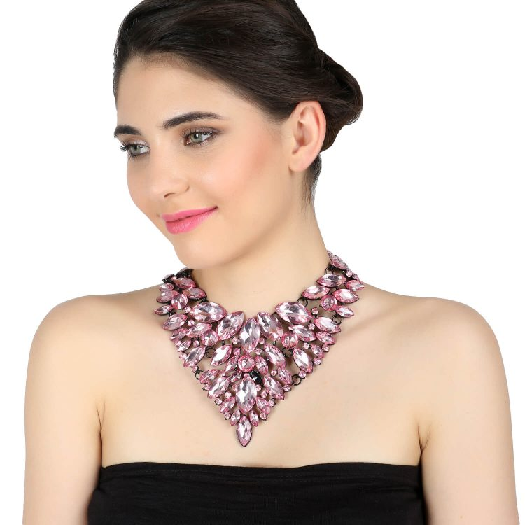 Pink Bling Statement Party Necklace