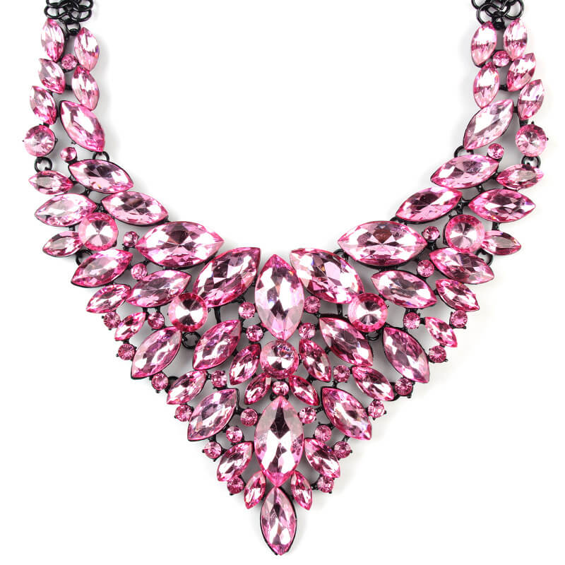 Pink Designer Party Statement Necklace By Femnmas