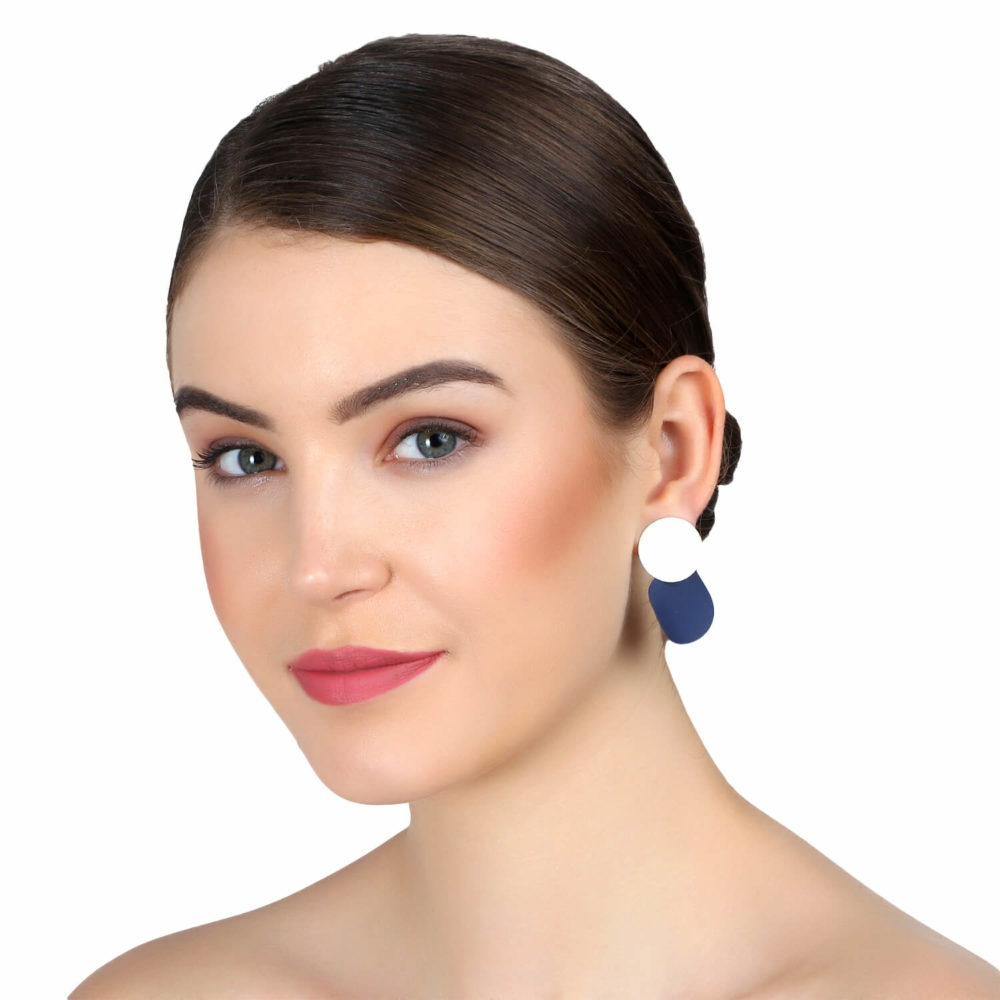 Black and white ethnic earring