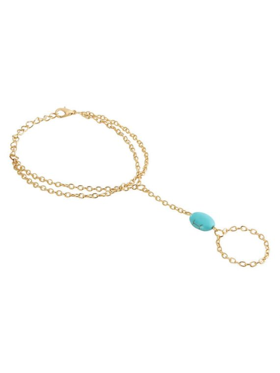 Golden Blue Bead Ring Chain Bracelet