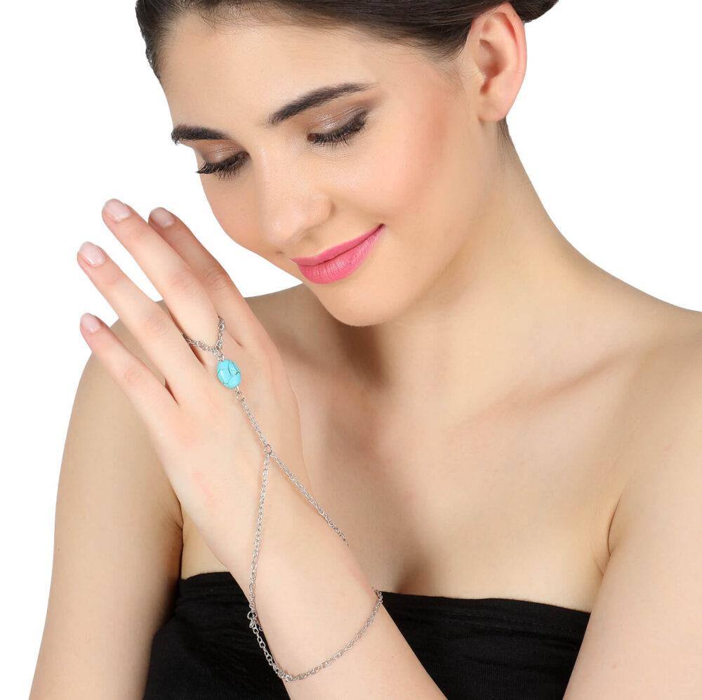 Silver Blue Bead Ring Bracelet
