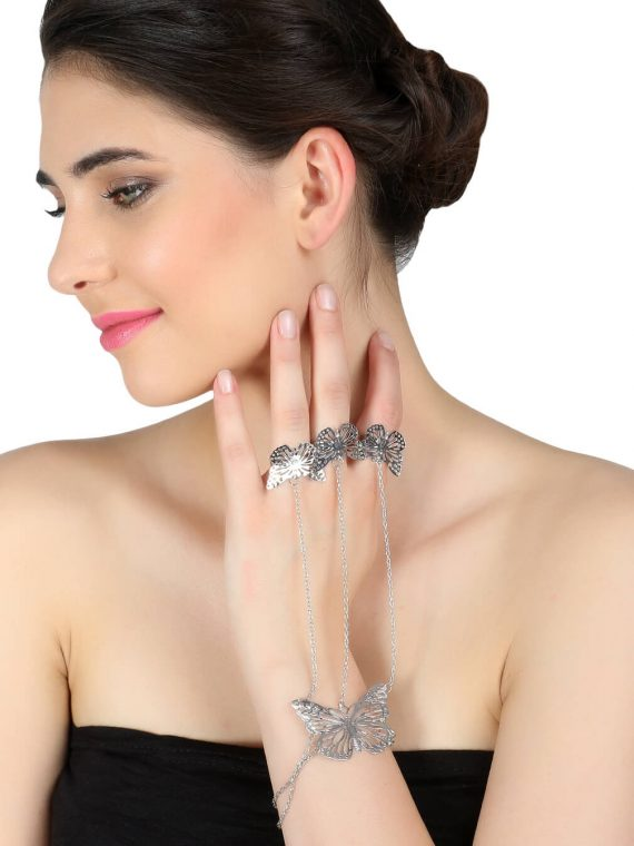 Silver Butterfly Bracelet With Ring