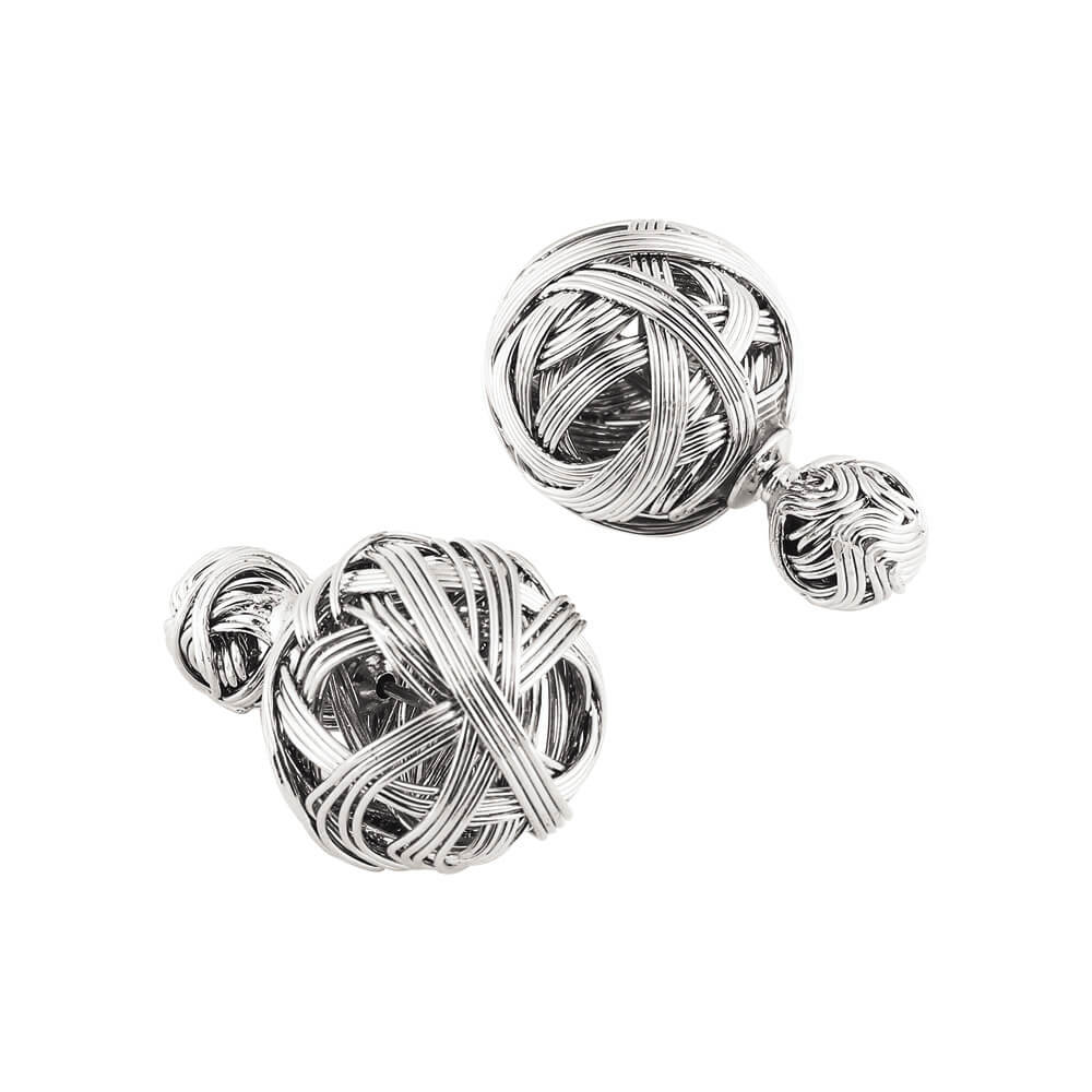 Silver Double Sided Earrings