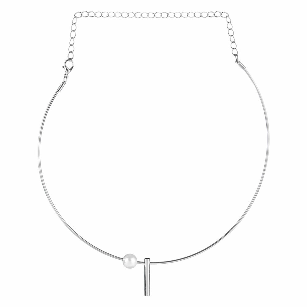 Silver Pearl Simple Necklace For Girls by femnmas