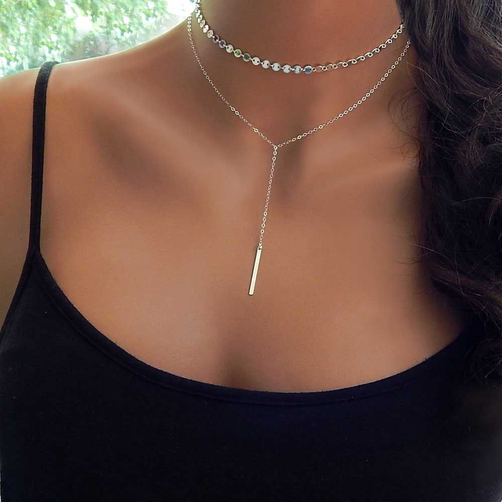Sequin Layered Choker Necklace Onilne