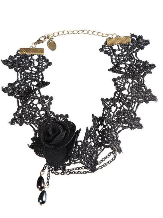 Black Flower Layered Lace Choker