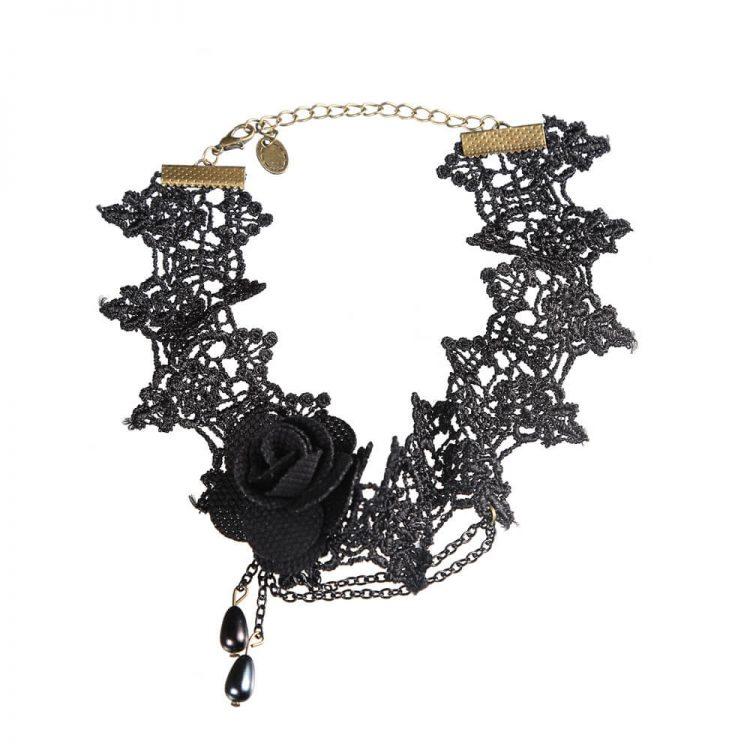 Black Flower Layered Lace Choker