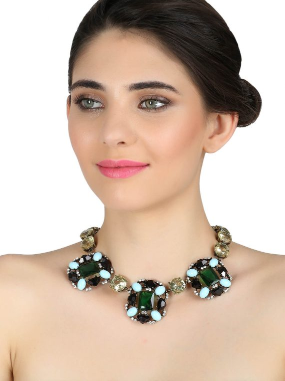 Green Statement Party Necklace