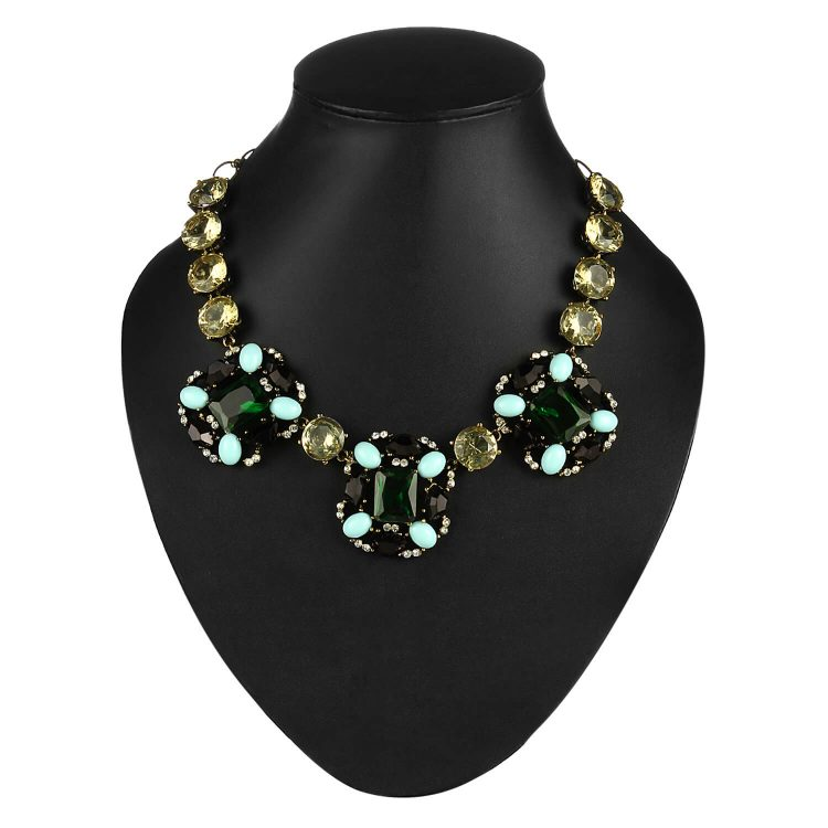 Green Statement Party Necklace India