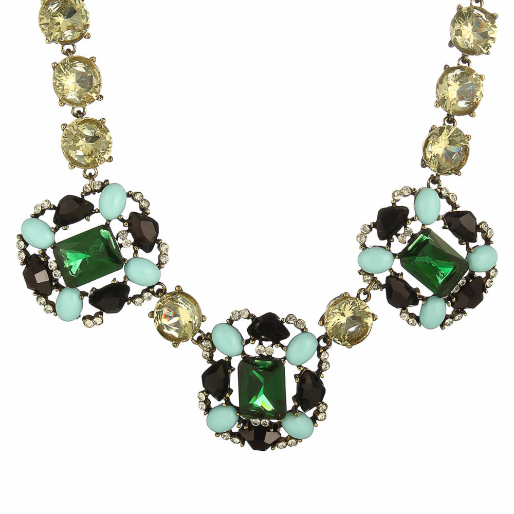 Green Statement Party Necklace Online