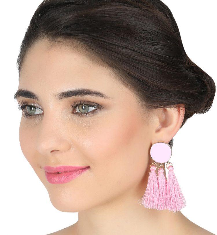 Light Pink Tassel Earring