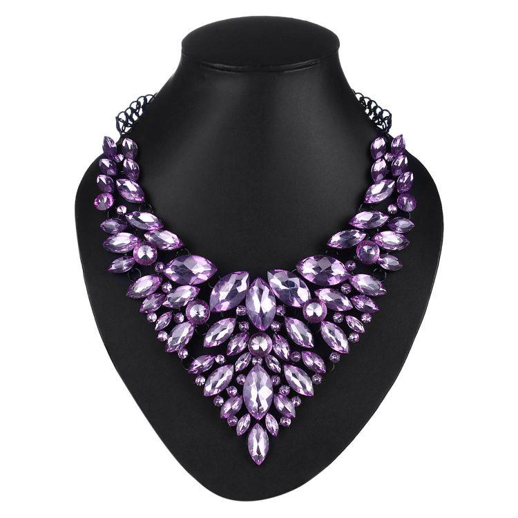 Purple Gemstone Statement Necklace