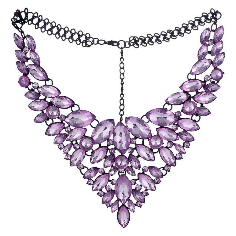 Purple Gemstone Statement Necklace India